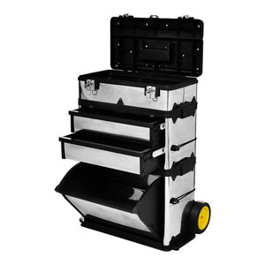 VidaXL 3-Part Rolling Tool Box With 2-Wheel