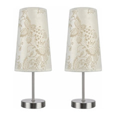 40084-9, 2-Pack Set, One-Light Candlestick Table Lamp, Satin Nickel 14 1/4 High by Aspen Creative Corporation