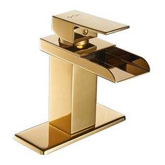 Chrome Waterfall Bathroom Faucet, Gold
