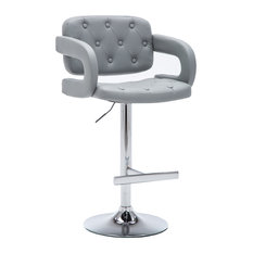 Modern Leather Adjustable Button-tufted Upholstered Barstool Gray