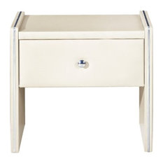 Leather Upholstered Wooden Nightstand With One Drawer Cream