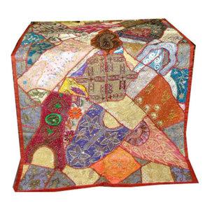 Mogul interior - Multi Orange Indian Style Beaded India Sari Wall Tapestry - Tapestries