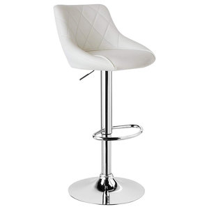 Modern Swivel Bar Stool Upholstered, Faux Leather With Chromed Footrest, White