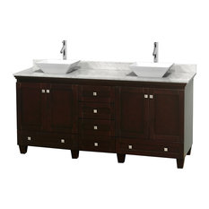 "72"" Acclaim Double Vanity, White Carrera Marble Top, Pyra White Porcelain Sink"