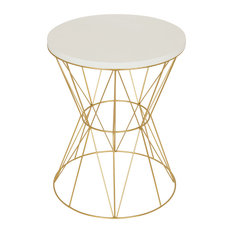 Mendel Round Rose Gold Metal End Table, White