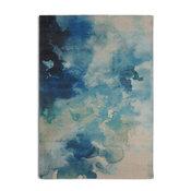 "Blue Luminous Contemporary Watercolor Area Rug, 7'6""x9'6"""