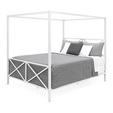 Queen size Modern Industrial Style White Metal Canopy Bed Frame