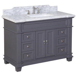 Elizabeth Bath Vanity, Base: Charcoal Gray, Top: Carrara Marble, 48""