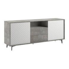 Cameron Buffet-Server, Concrete Gray Melamine Frame, Pattern Melamine Doors