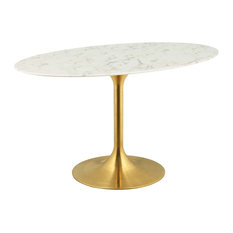 """Lippa 54"""" Oval Dining Table, Gold"""