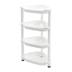 Modern Shower Caddy Corner With Adjustable 3-or 4-Shelf, White Finish