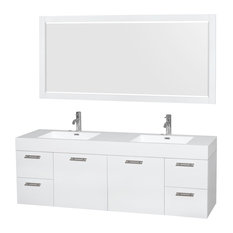 "Amare 72"" Glossy White Double Vanity, 70"" Mirror, Integrated, Acrylic-Resin"