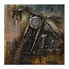 """Motorcycle 1"" Primo Mixed Media Hand Painted 3D Metal Wall Art"