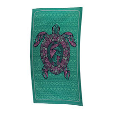 Turtley Awesome Sea Green and Pink Tribal Turtle Beach Towel