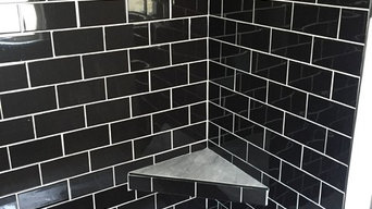 Black subway tile shower