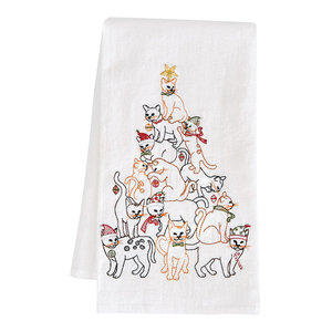 05dbc9feafd4d Cat Christmas Tree Print Kitchen Towels