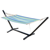 Weston Outdoor Blue, Green, and White Striped Hammock With Wood Frame
