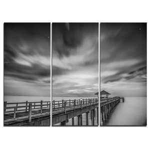 """""""Black and White Wooden Bridge and Sky"""" Wall Art, 3 Panels, 36""""x28"""""""