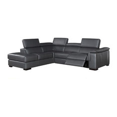 Agata Leather Sectional Sofa With Power Recliner Left Facing Chair