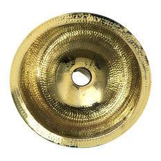 """Nantucket Sinks 16.5"""" Hammered Brass Round Overflow Undermount Bathroom Sink, Br"""