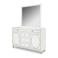 AICO Sky Tower Dresser And Mirror White Cloud