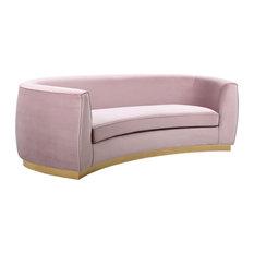 Julian Velvet Sofa, Pink, Gold Base