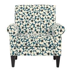 Janet Arm Chair, Caribbean Blue & Cream Floral