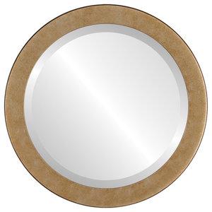"""Vienna Framed Round Mirror in Burnished Silver, 20""""x20"""""""