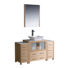 "Fresca Torino 54"" Light Oak Modern Bathroom Vanity, 2 Side Cabinets, Vessel Sink"