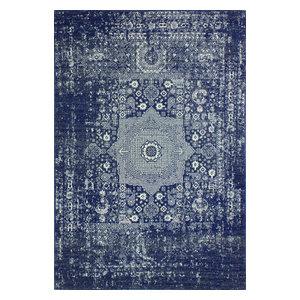 """Bashian Fanny Dark Blue Area Rug, 7'6""""x9'6"""""""