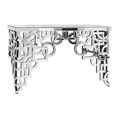 "Elegant Furniture & Lighting - 58""x18"" Silver/Clear Mirror Table Home Decor - Console Tables"