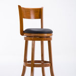 """Boraam - Palmetto Swivel Stool, 29"""", Fruitwood - The Palmetto Swivel Stool from Boraam Industries, Inc. boasts a solid hardwood footrest. Boasting a 360-degree swivel mechanism, this piece has been designed with your comfort in mind. This stool also features a wooden backrest and a high-density foam seat cushion upholstered in shiny black bonded leather. Exuding a warm, luxurious feel, thanks to its rich colors and sumptuous textures, this swivel stool from Boraam Industries, Inc. makes a sophisticated addition to any interior space."""