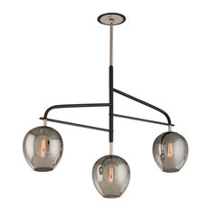 Odyssey, 3 Light Pendant, Carbide Black & Polished Nickel, Plated Smoked Glass