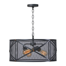 """Kenroy Home 92082 Alfred 3 Light 20"""" Wide Drum Style Chandelier with Metal Shad"""