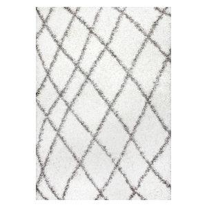 Beyazit Machine-Made Easy Shag Rug, White, 8'x10'