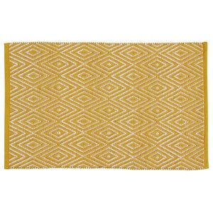 Handwoven Mustard Diamonds Cotton Rug, 60x90 Cm