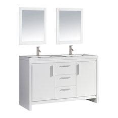 "Miami 60"" Double Sink Bathroom Vanity Set, White"
