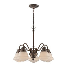 Towne Five Light Chandelier Antique Copper Frosted Glass