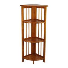 3-Shelf Corner Folding Bookcase, Honey Oak