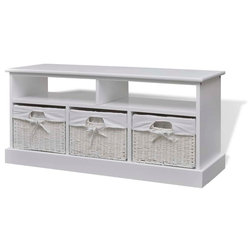 Coastal Accent & Storage Benches by vidaXL