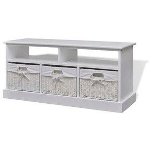 VidaXL Storage Bench, Aarau, White
