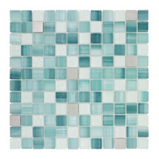 MTO0282 Hand Painted Squares Blue Gray White Glossy Glass Metal Mosaic Tile