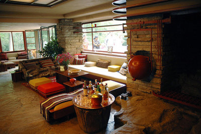 Fallingwater Living Room from Flickr member curiouslee