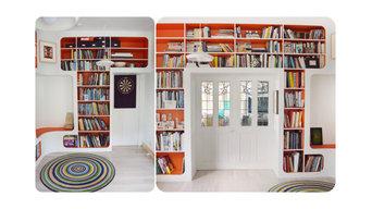 70's Inspired Corner Book shelving unit