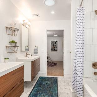 Пример оригинального дизайна: большая ванная комната в стиле ретро