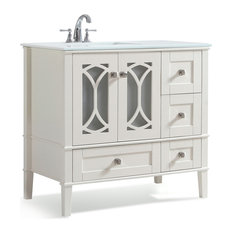 Simpli Home Ltd Paige Bath Vanity With White Quartz Marble Top 36