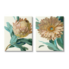 Garden Flower Details Minimal Green Tan Painting,2pc, each 24 x 30