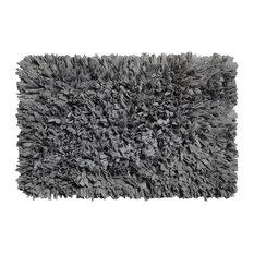 "American Crafts Paper Shag Cotton / Polyester Blend Bath Mat, 21"" X 34"", Pewter"