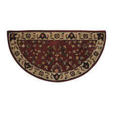 Red With Beige Hand-Tufted 100% Wool Hearth Rug