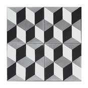Harlequin Concrete Tile Geometric Pattern, Set of 13, 8x8